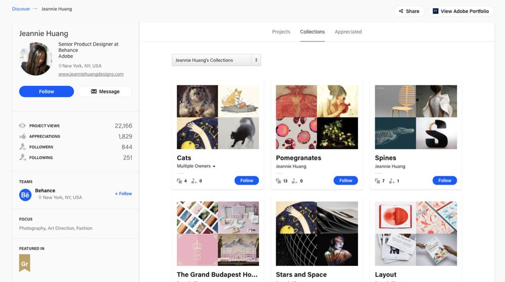 The previous Behance profile page has undergone a serious makeover