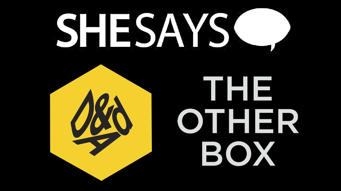Logos for SheSays, D&AD and The Other Box