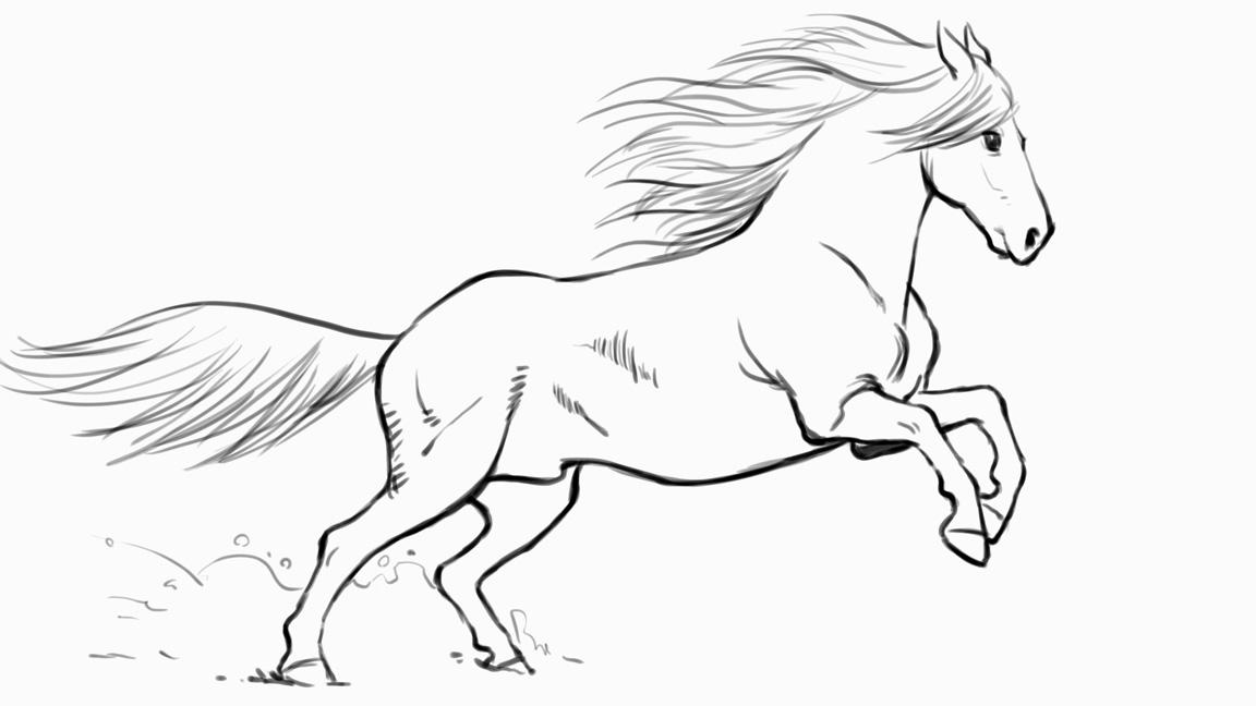 Line drawing of a horse with mane and tail added