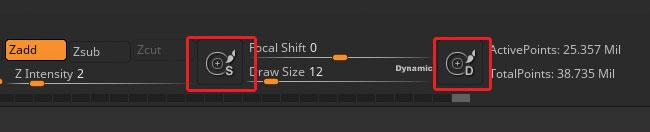 15 tips to master ZBrush: Use Draw Size and Dynamic mode buttons