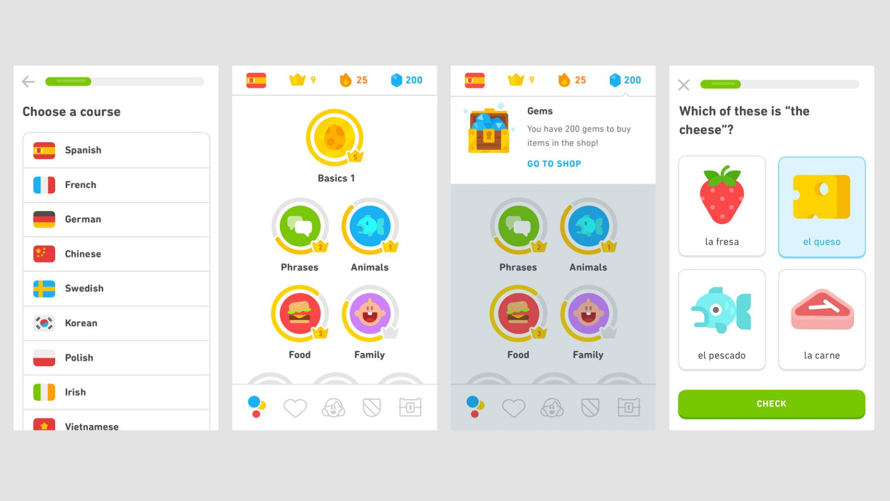 Samples of Duolingo screens