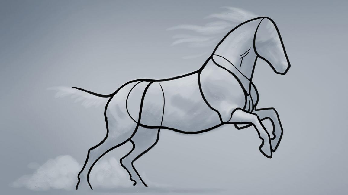 Basic line-drawing showing main shapes of a horse
