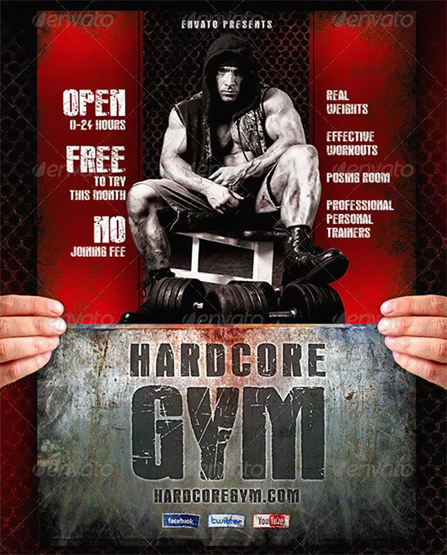Flyer templates: Hardcore Gym Flyer