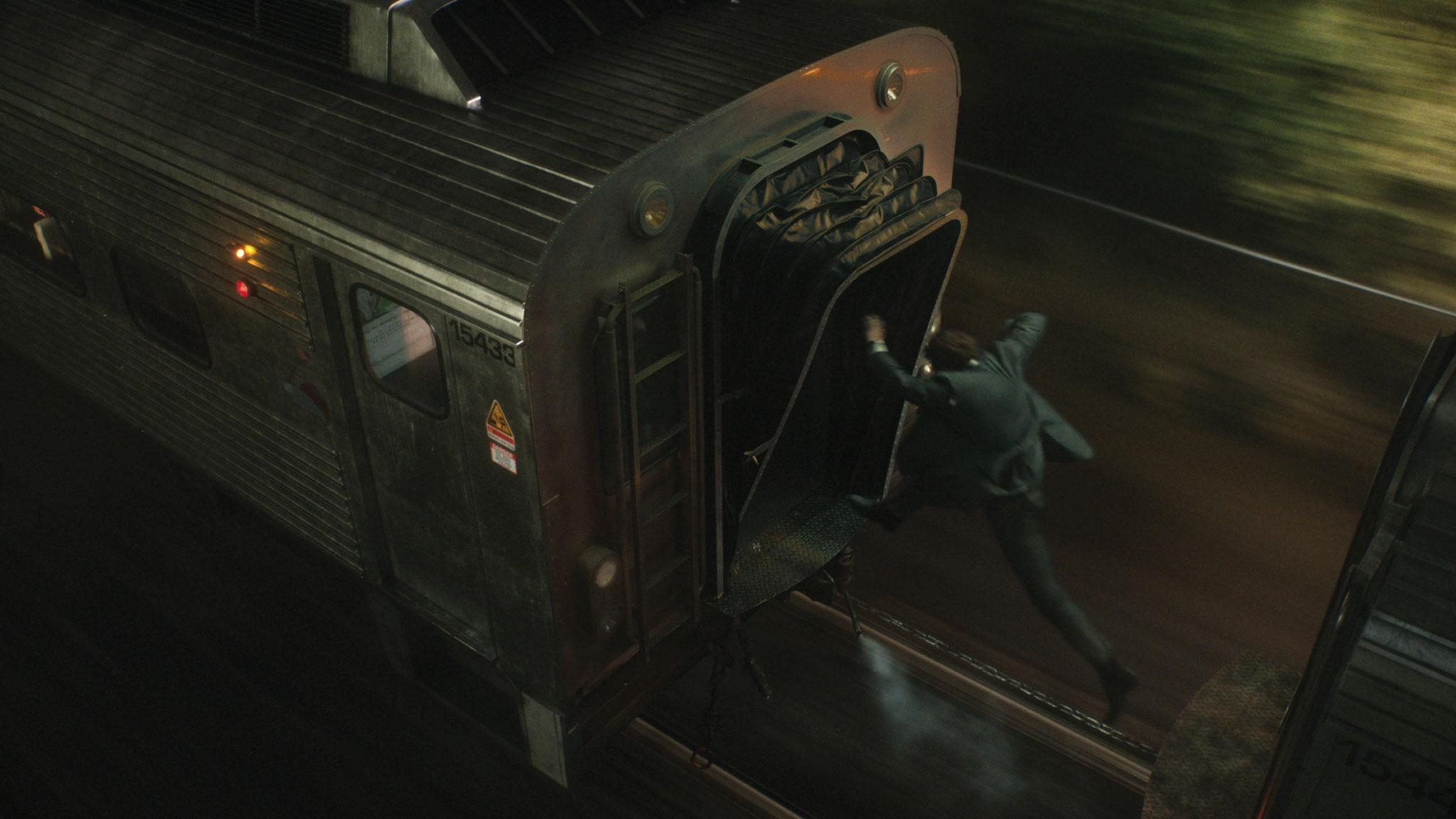Liam Neeson jumps between train carriages