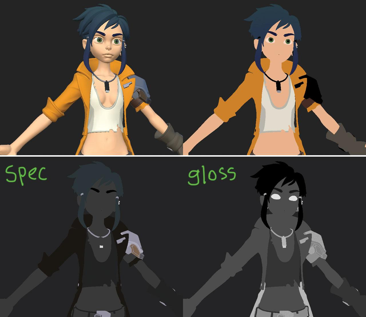 character with different colour palettes