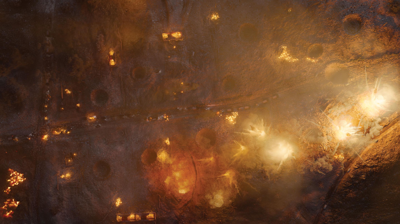 Ariel view of a bombing run