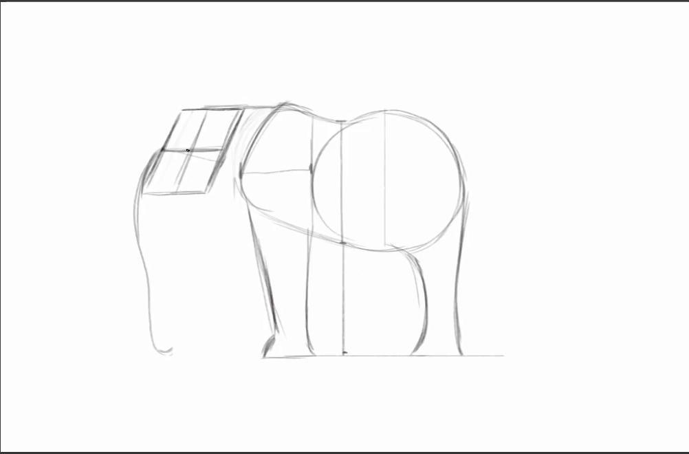 Basic shapes outlining an elephant figure