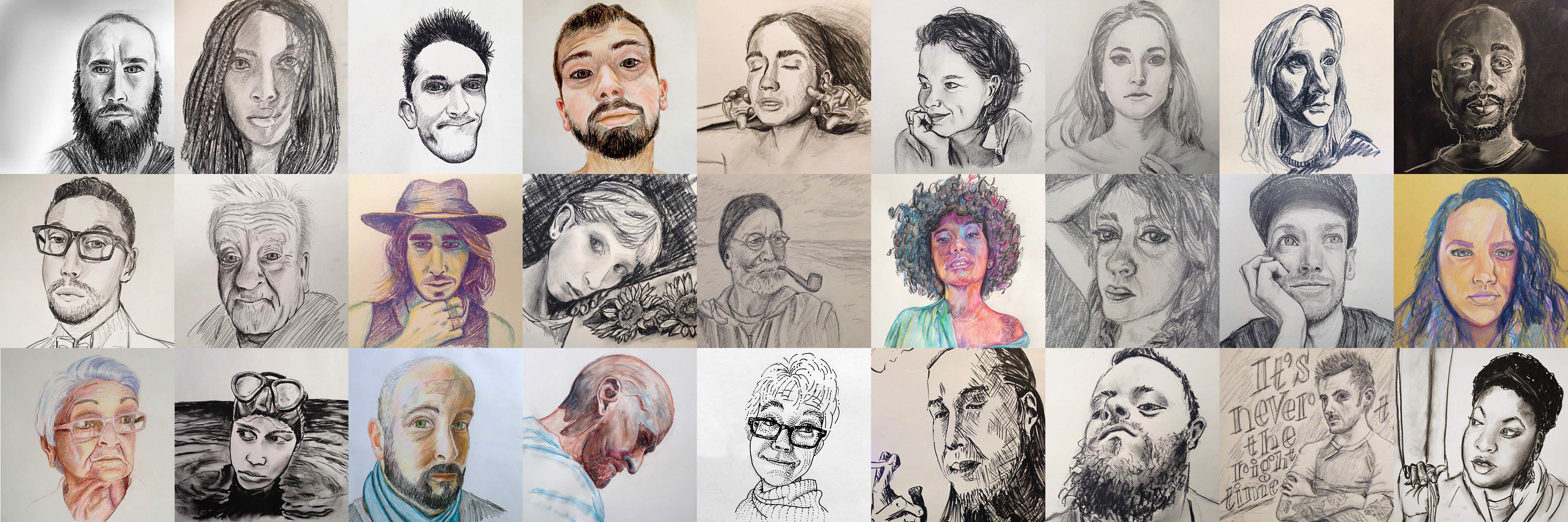 Selection of sketches of faces