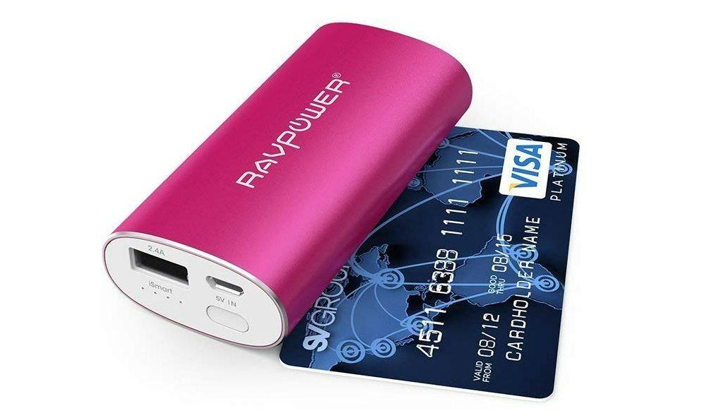 RAVPower Luster portable charger next to credit card