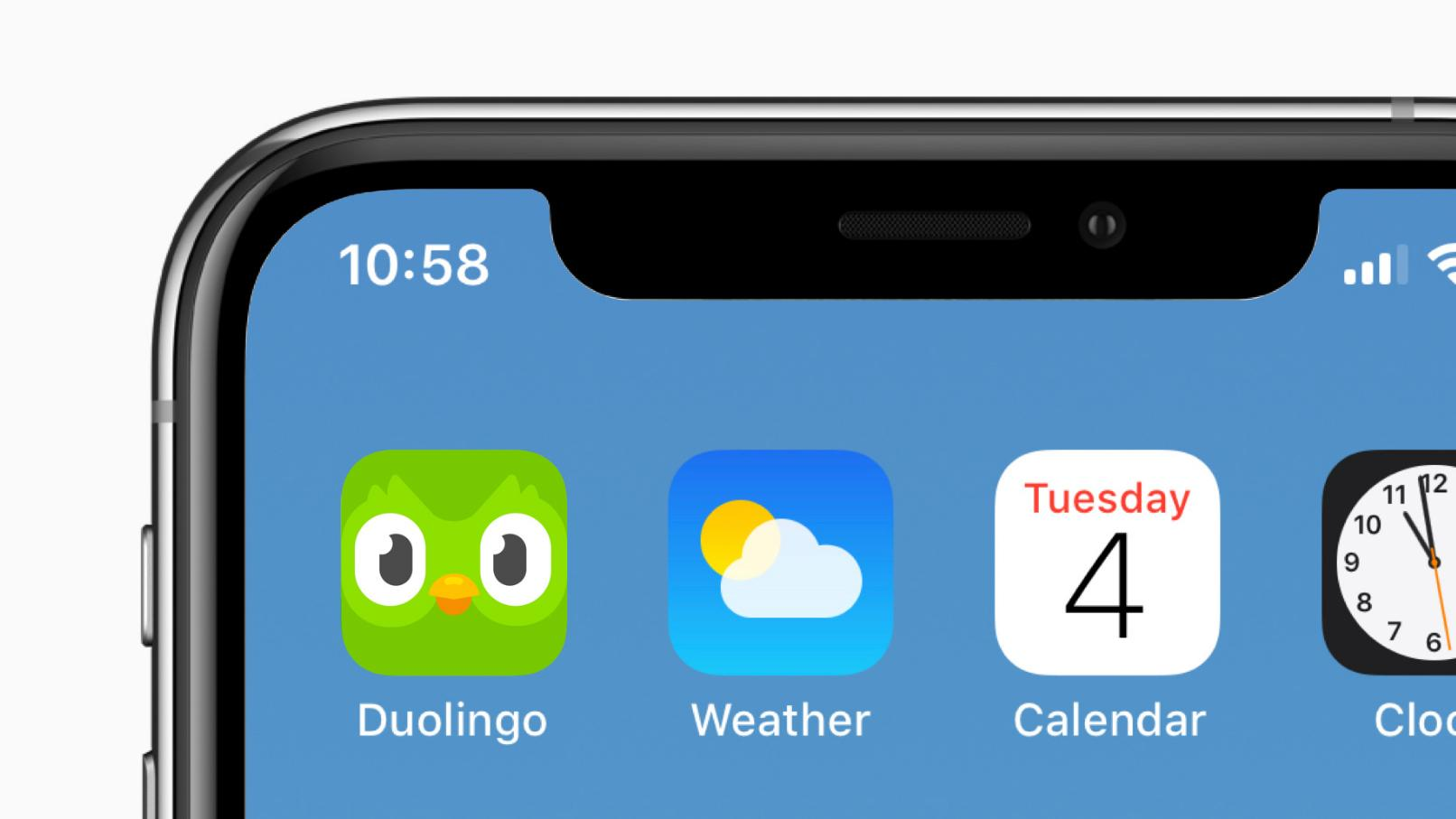 Duolingo app icon on a phone screen