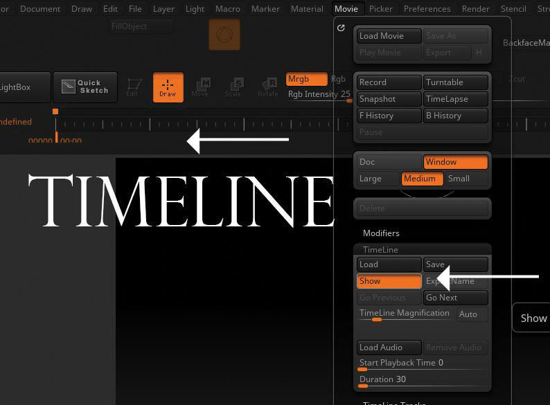 15 tips to master ZBrush: Use the timeline