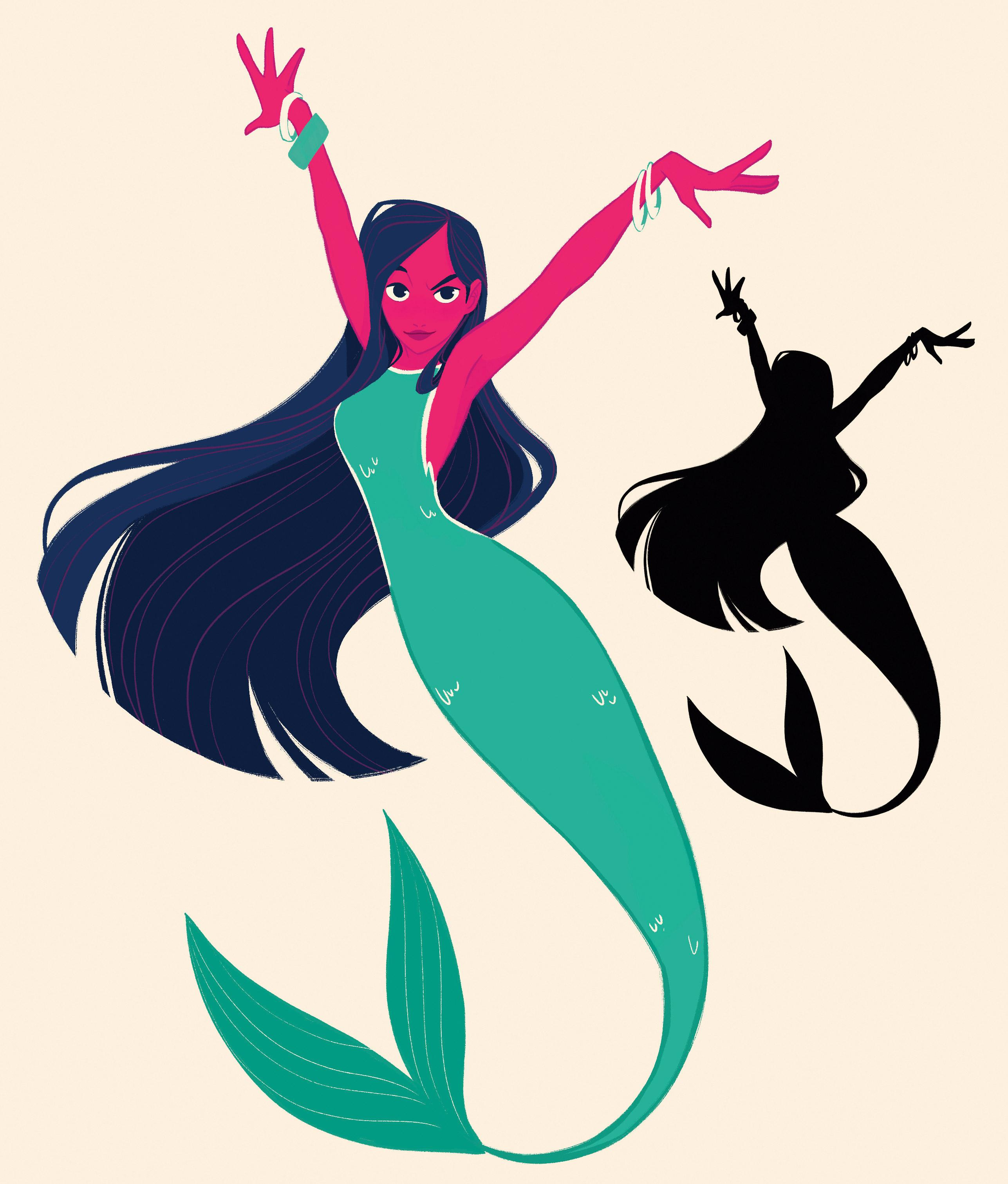 Gesticulating mermaid next to a silhouette version of the illustration