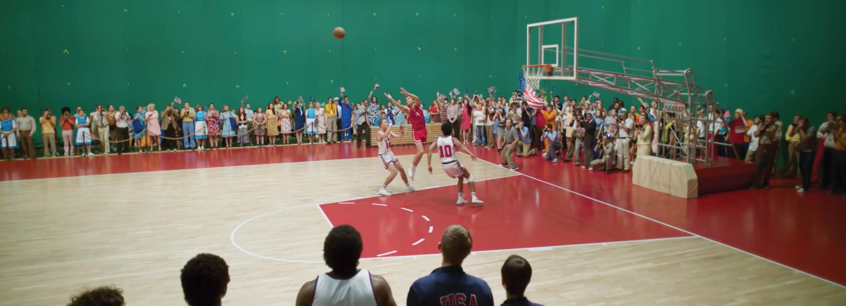 A basketball court shot against a greenscreen