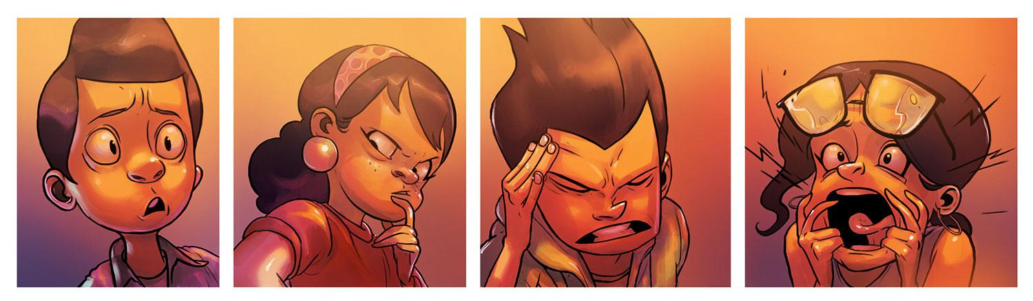 Cartoon strip of cartoon characters showing fear, thoughtfulness, frustration and terror