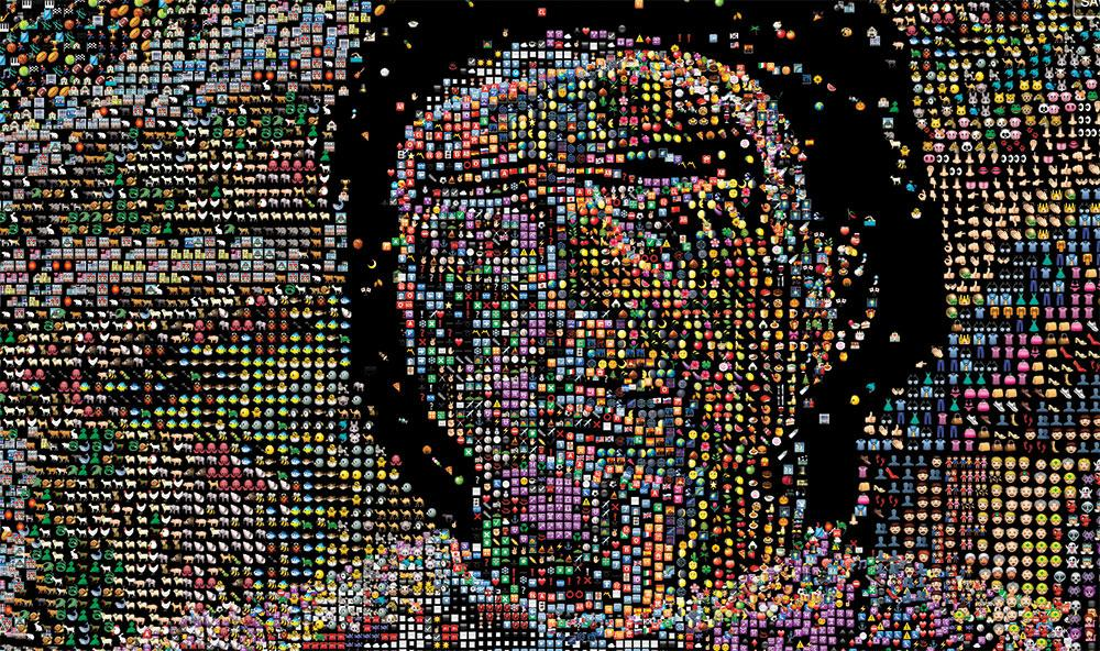 Portrait made out of emojis