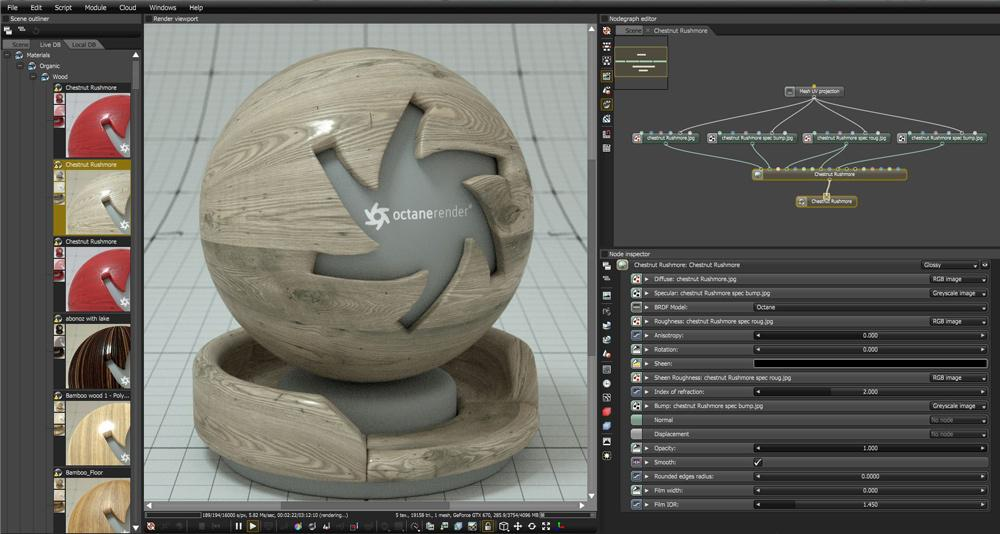 Screenshot of OctaneRender interface with material options window open