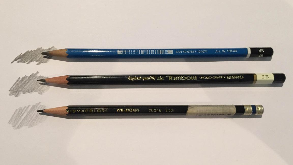 three pencils of different types