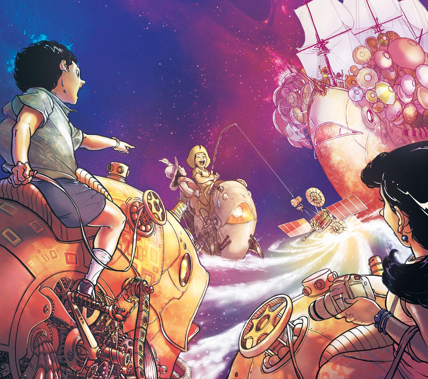 Fantasy art scene of children riding mechanical creatures in front of a ship, in the clouds