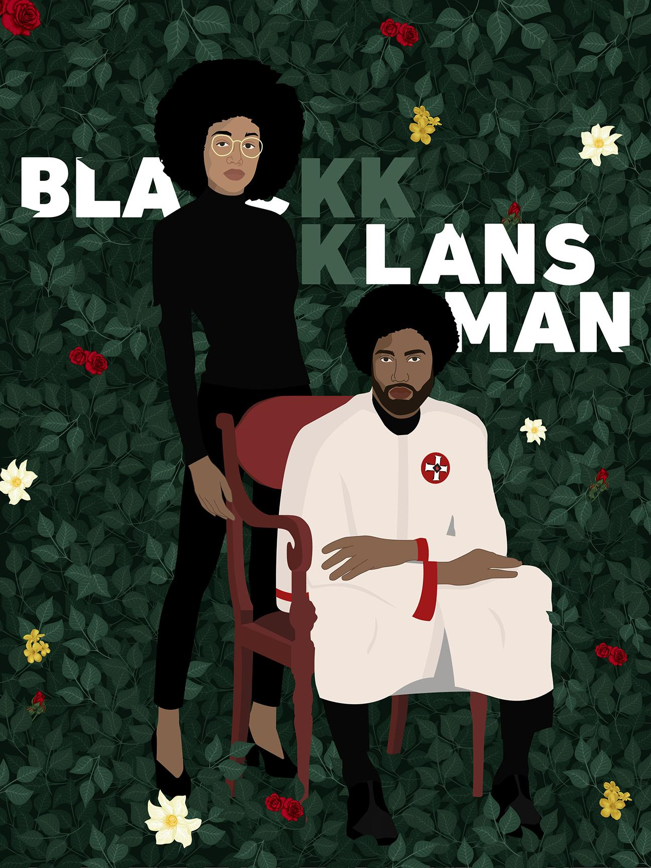 This BlacKkKlansman poster by Brenda Luu references Kehinde Wiley and his portrait of Barack Obama