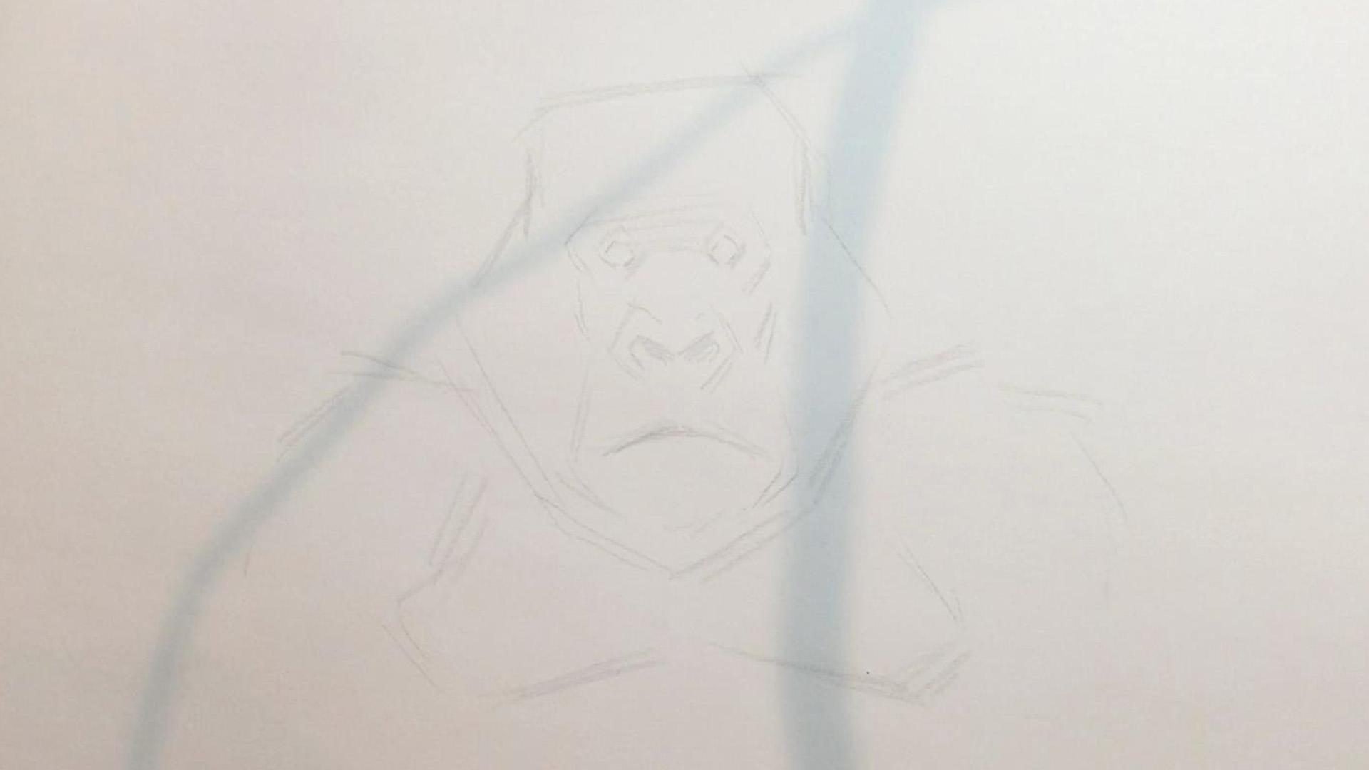 a sketch of a gorilla