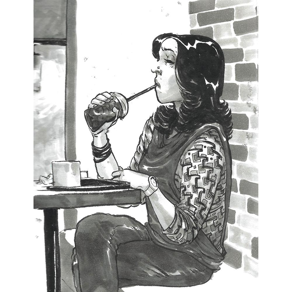 Pen drawing of a woman sipping a drink in a cafe, wearing a patterned top and nose stud