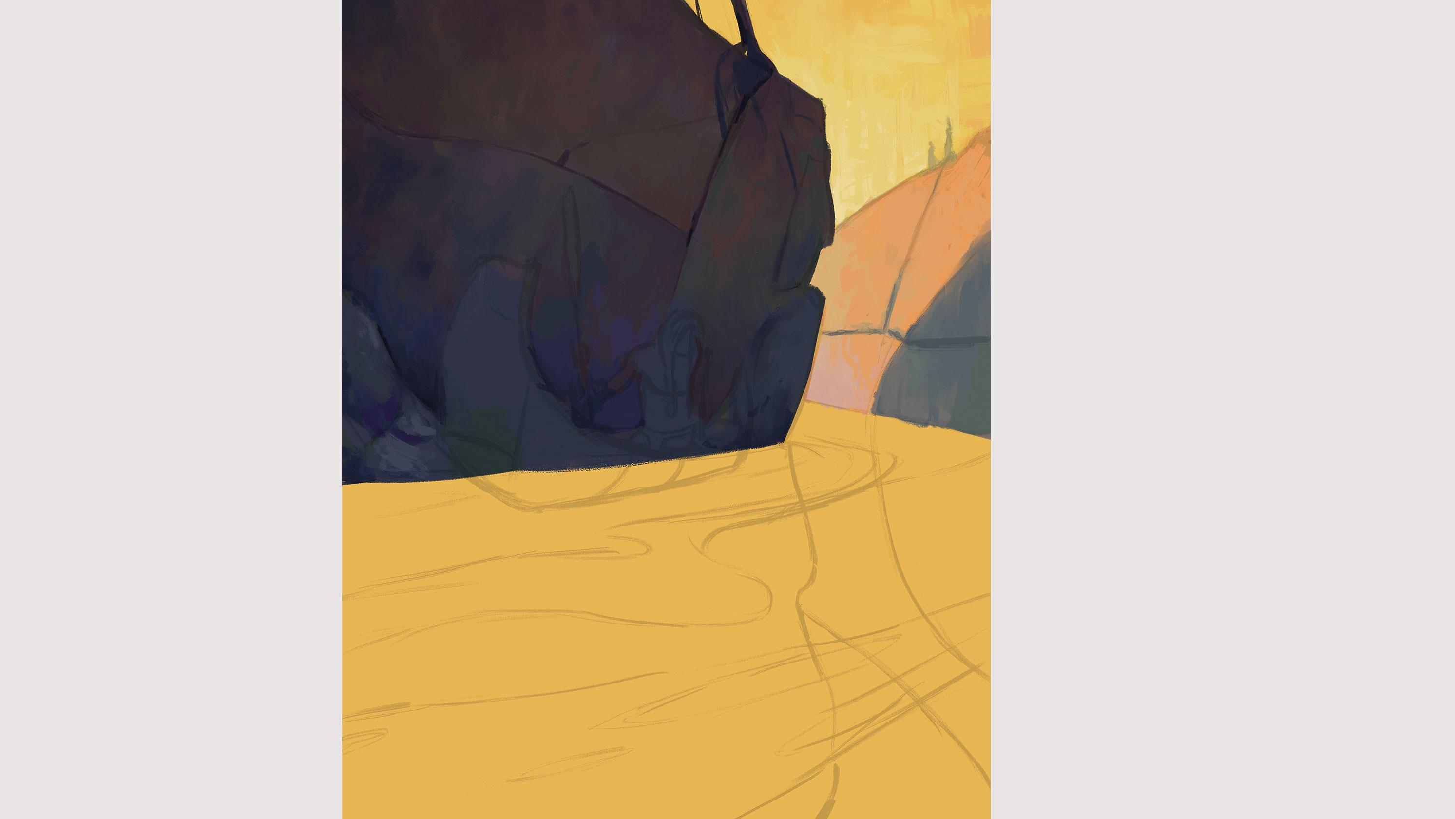 rocks in painting outline