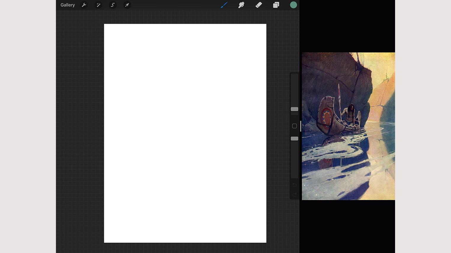 Painting in Procreate with split screen function on