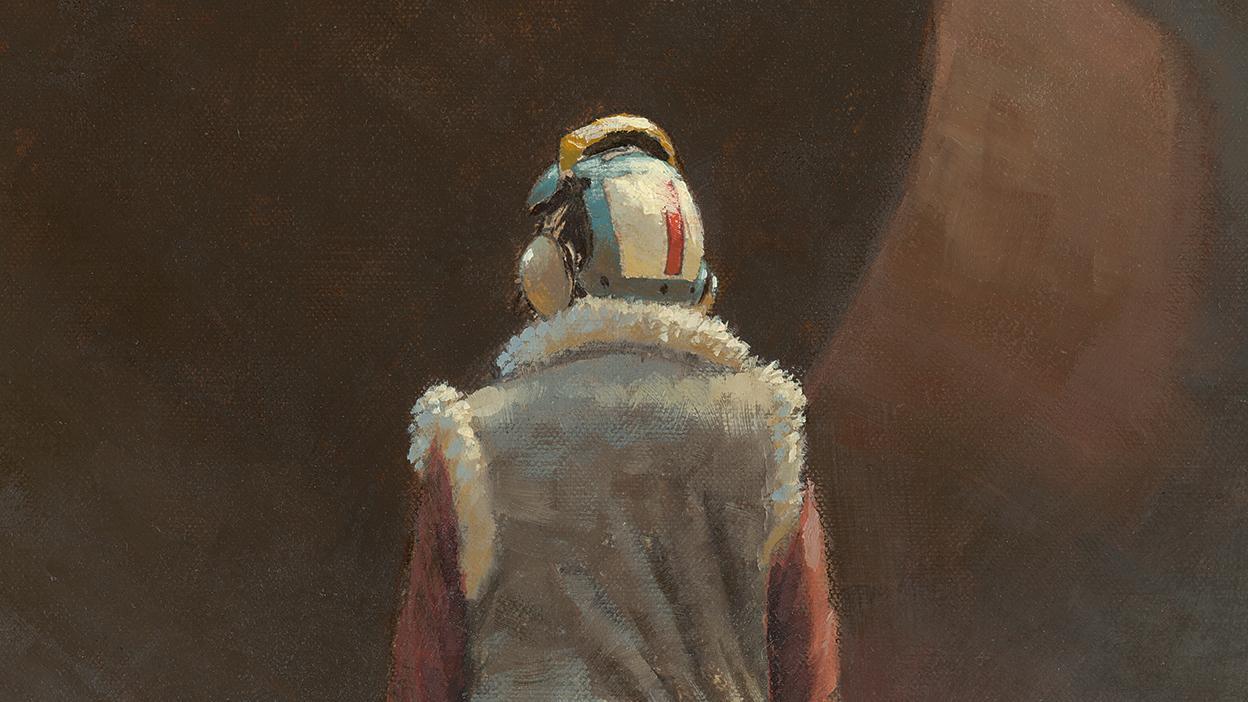 A futuristic pilot in relief against a dark background