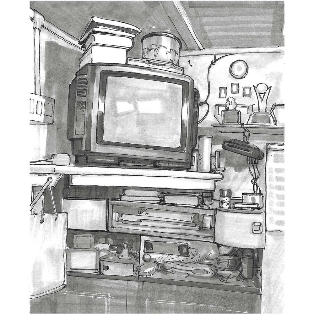 Sketch of a cluttered corner of a room