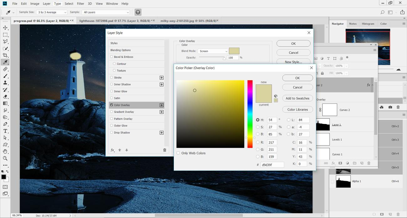 Turn day into night: Add a Color Overlay