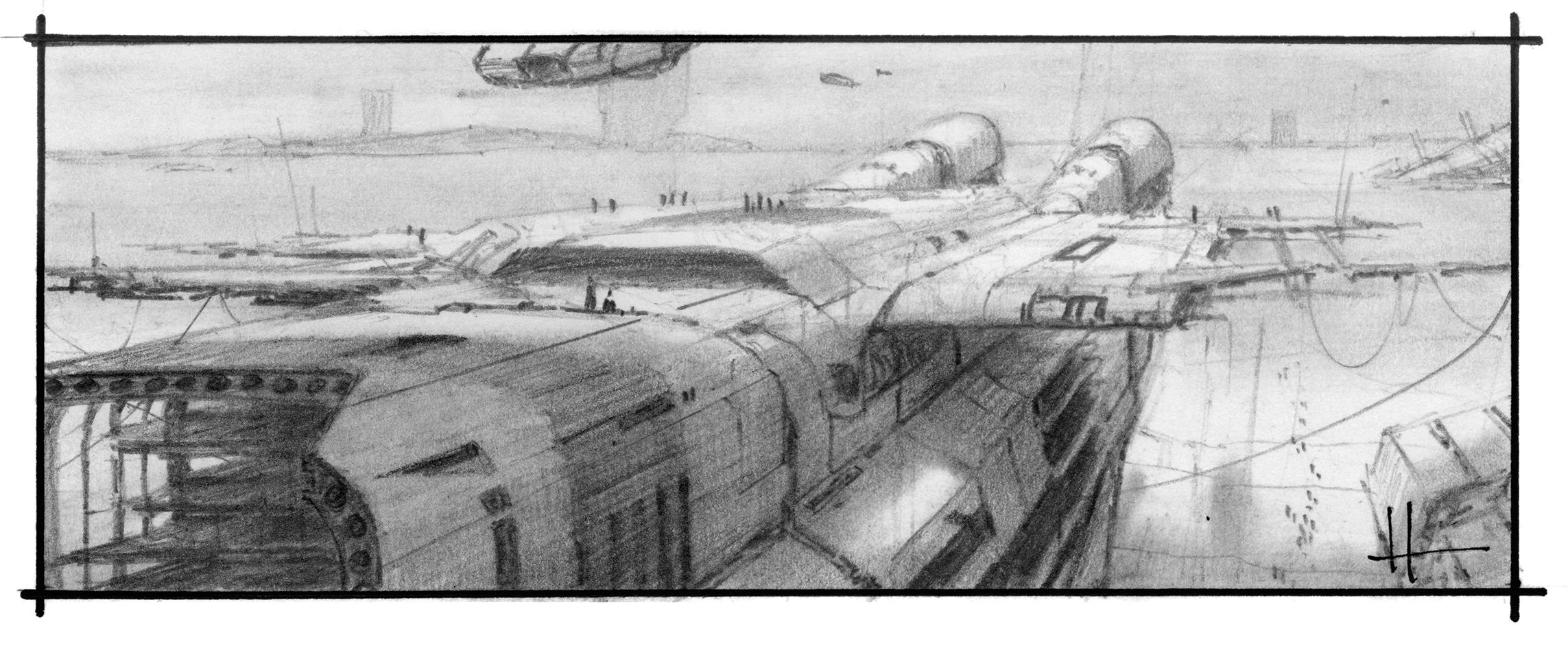 Pencil sketch of a spaceship in a dock