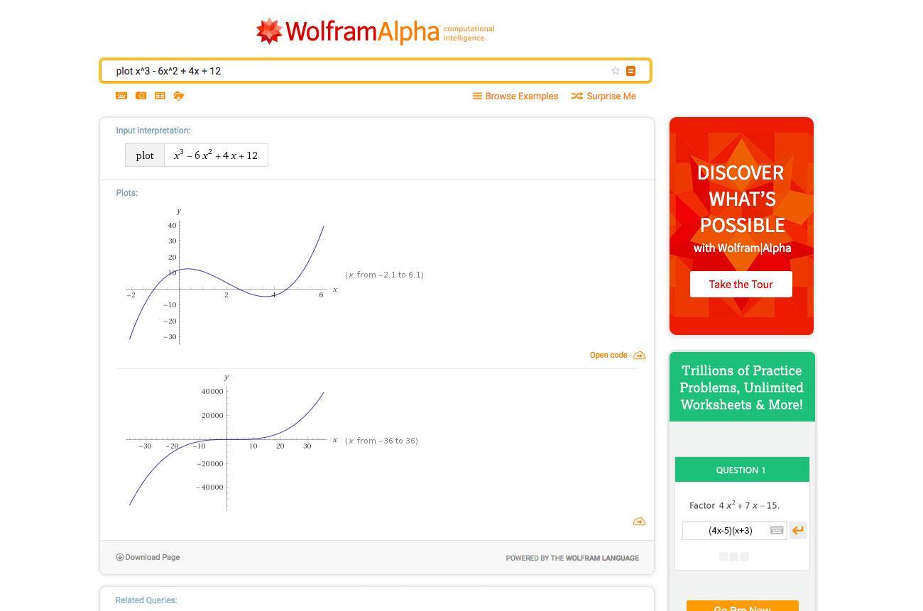 Dataviz tools: WolframAlpha