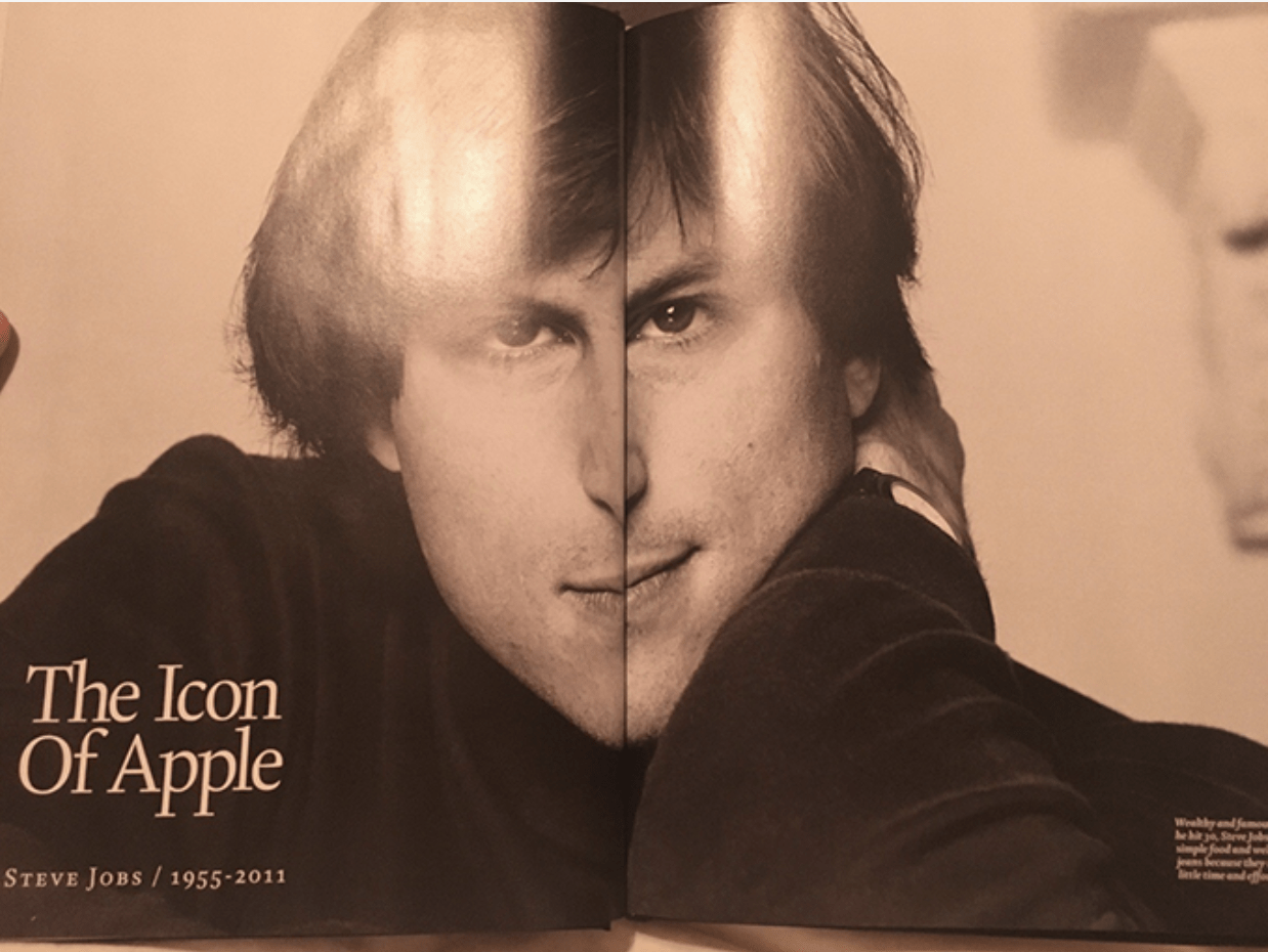 The icon of Apple double page magazine spread