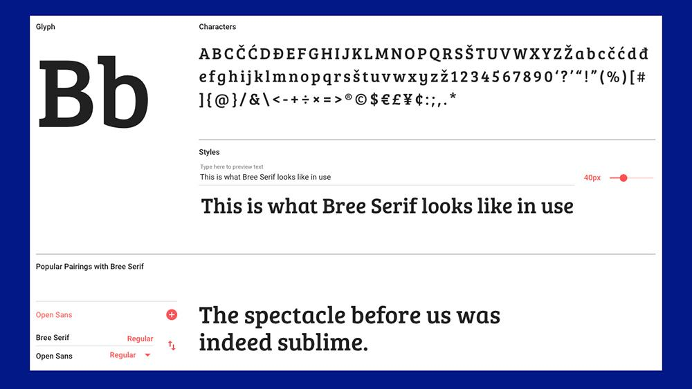 Best free fonts: Bree serif