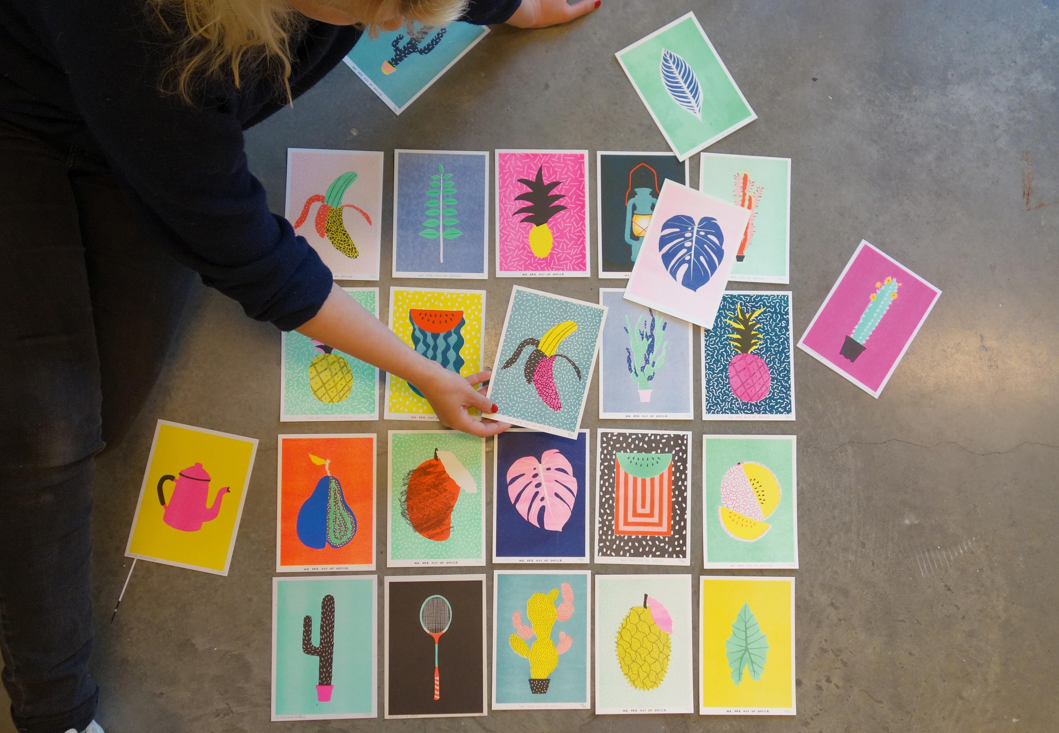 Selection of colourful plant prints
