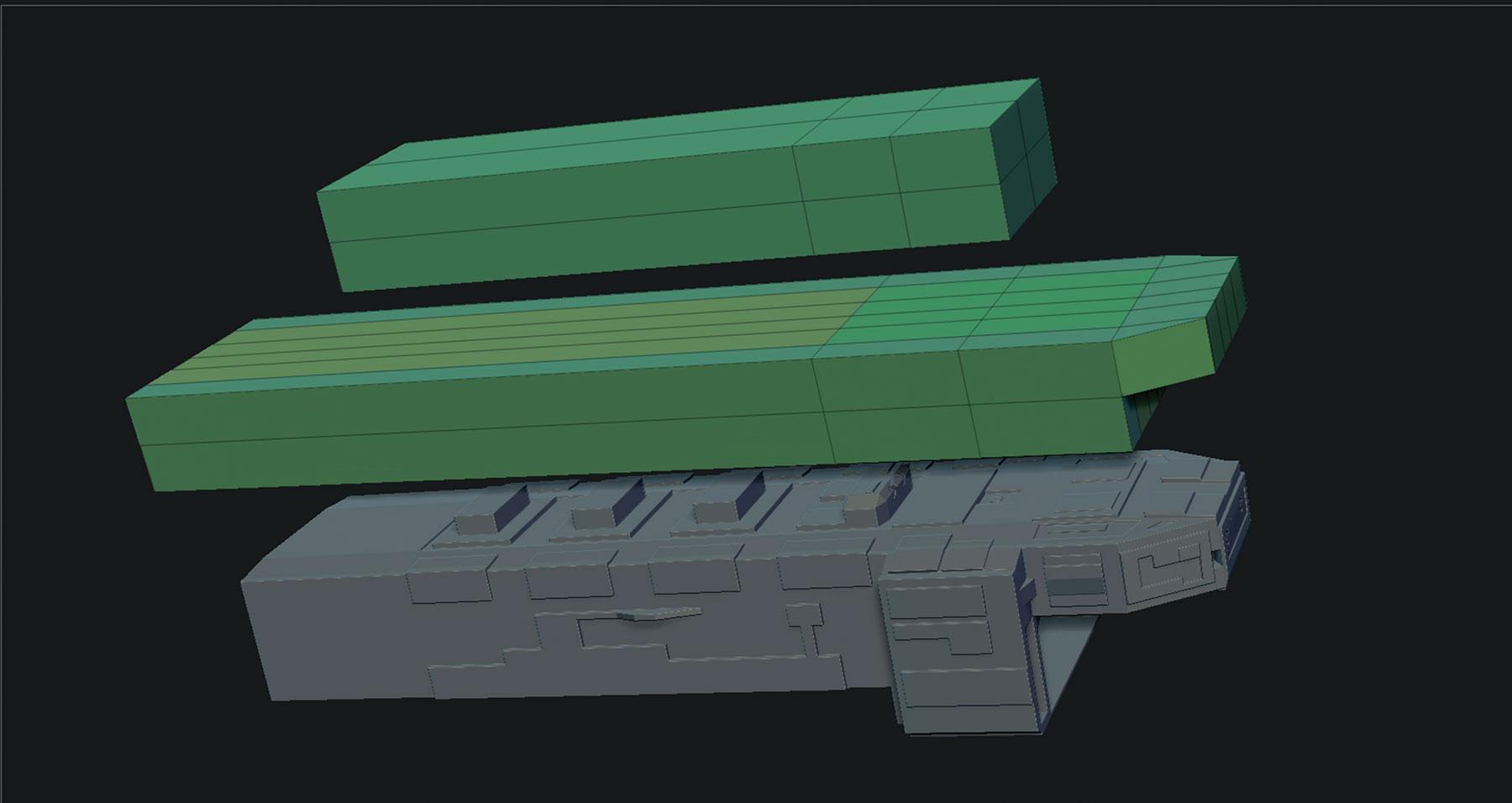 ship model in ZBrush