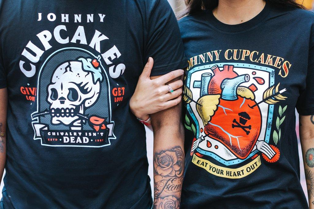 People wearing Johnny Cupcakes t-shirts with tattoo art-style designs
