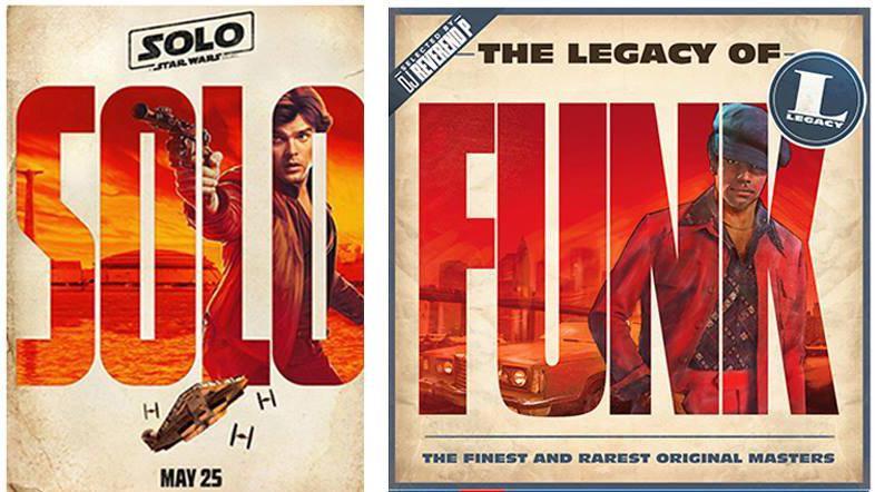Han Solo poster beside similar looking funk album cover