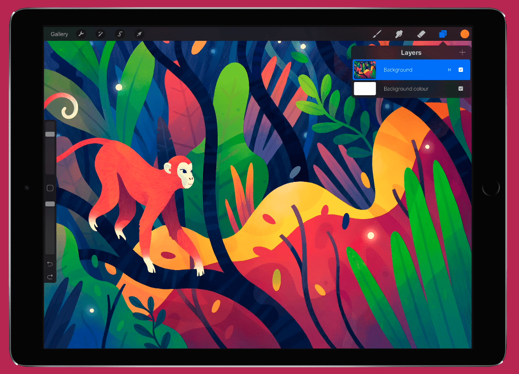 Vector illustration of a monkey in a tree on an iPad screen