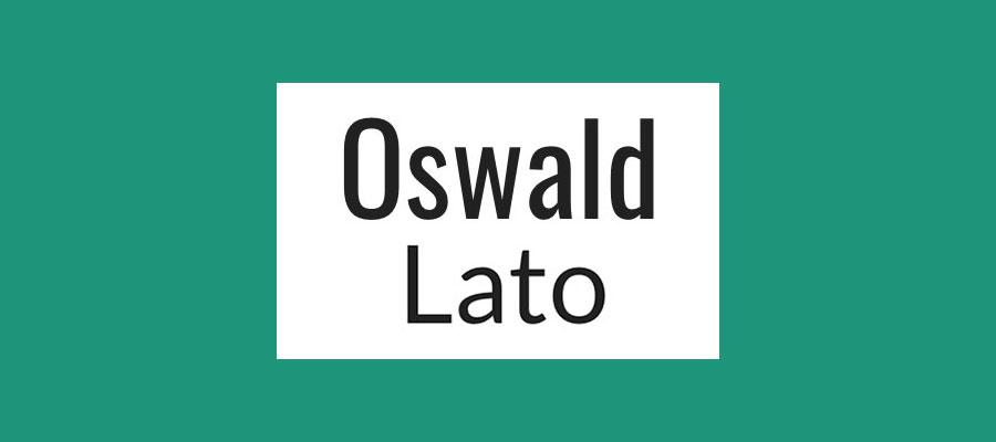 Oswald and Lato font pairing