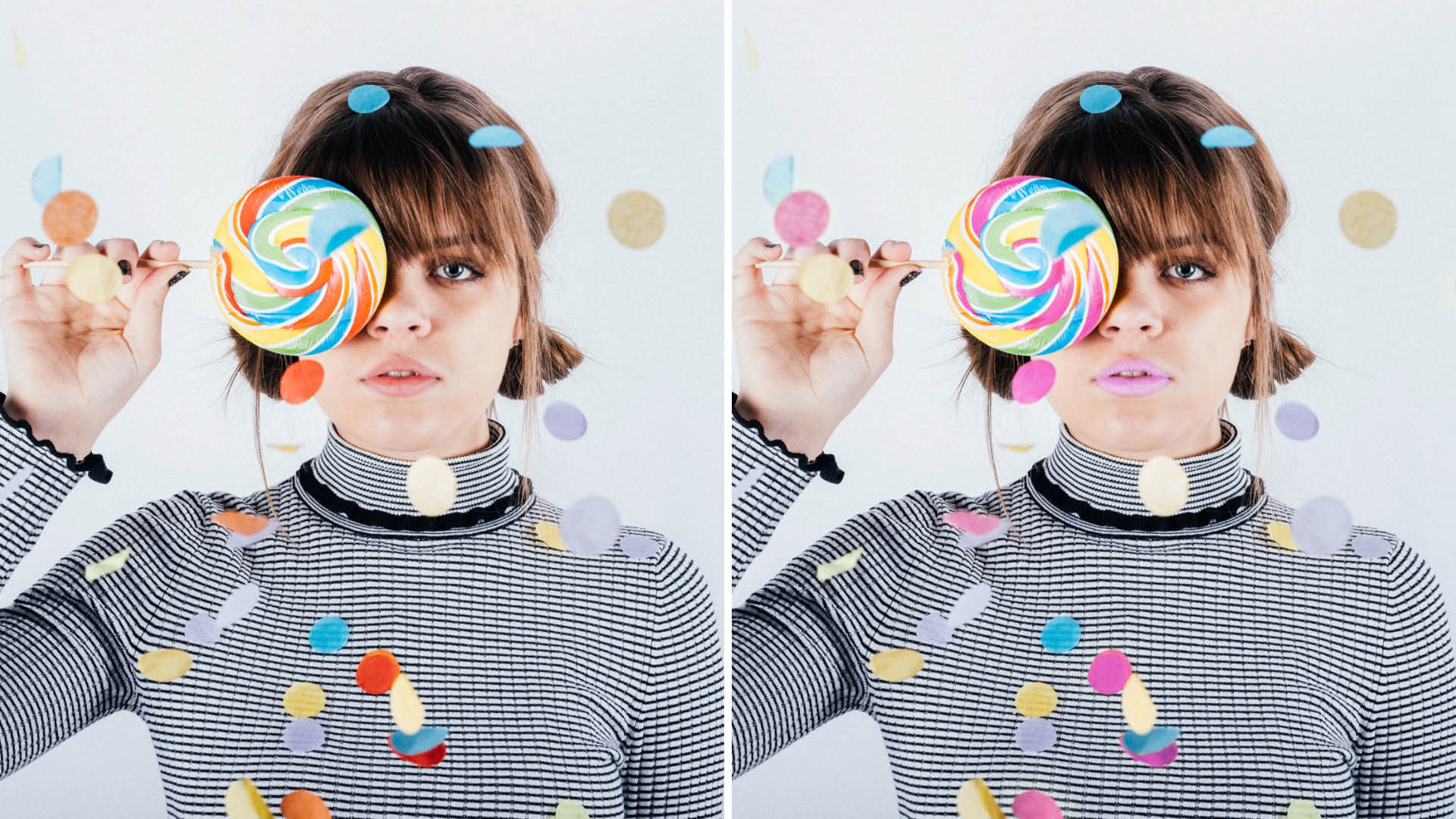 Different colour versions of a woman holding a lollipop in front of her right eye