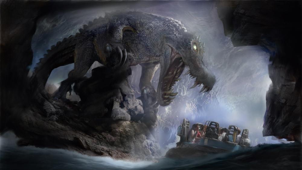 Illustration of a huge crocodile standing over people on a theme park ride