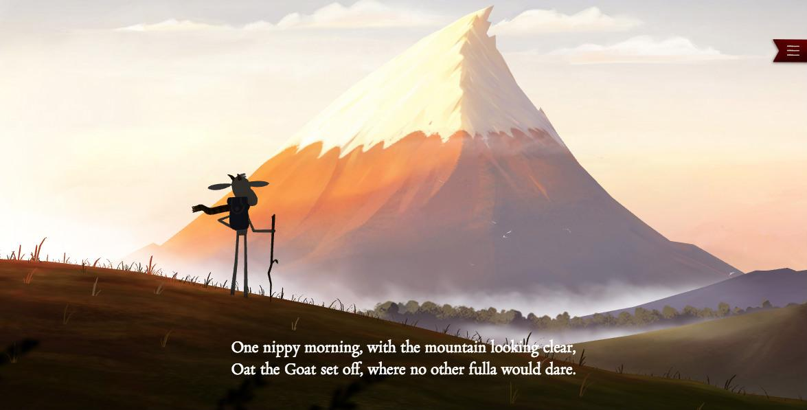 Cartoon of a goat standing in front of a mountain
