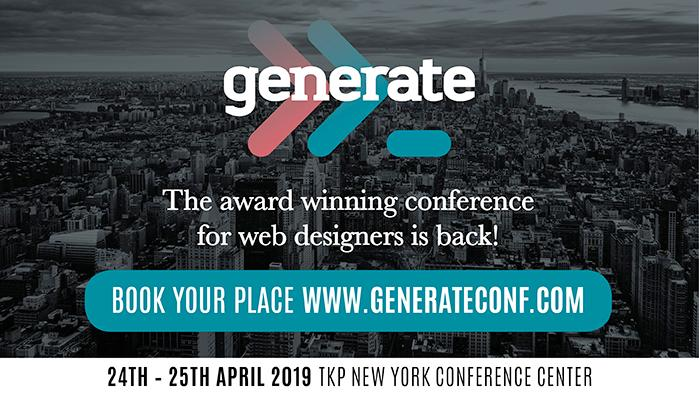 Generate, the award winning conference for web designers, returns to NYC on April 24-25! To book tickets visit www.generateconf.com
