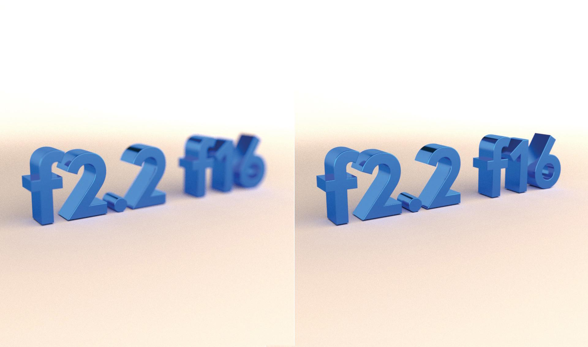 f2.2 and f16 written as text