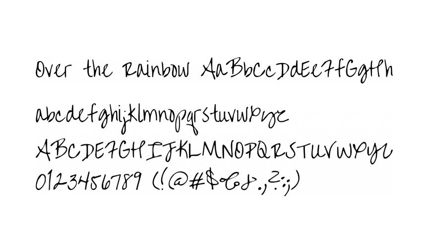 Free handwriting fonts: Over the rainbow