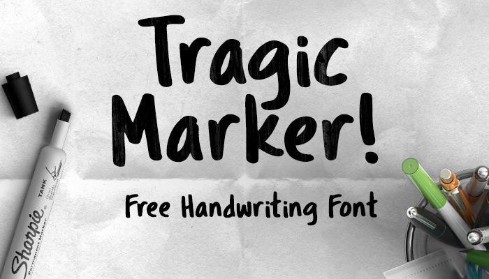Free handwriting fonts: Tragic Marker