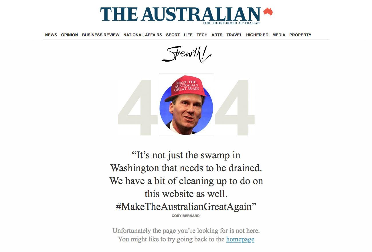 the australian 404 page