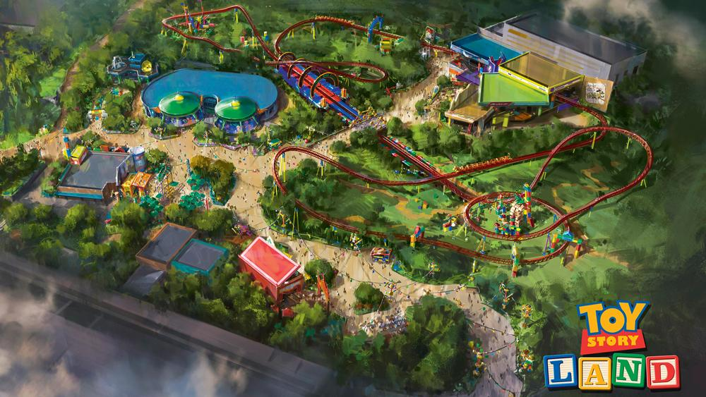 Colourful birds-eye-view illustration of Toy Story Land
