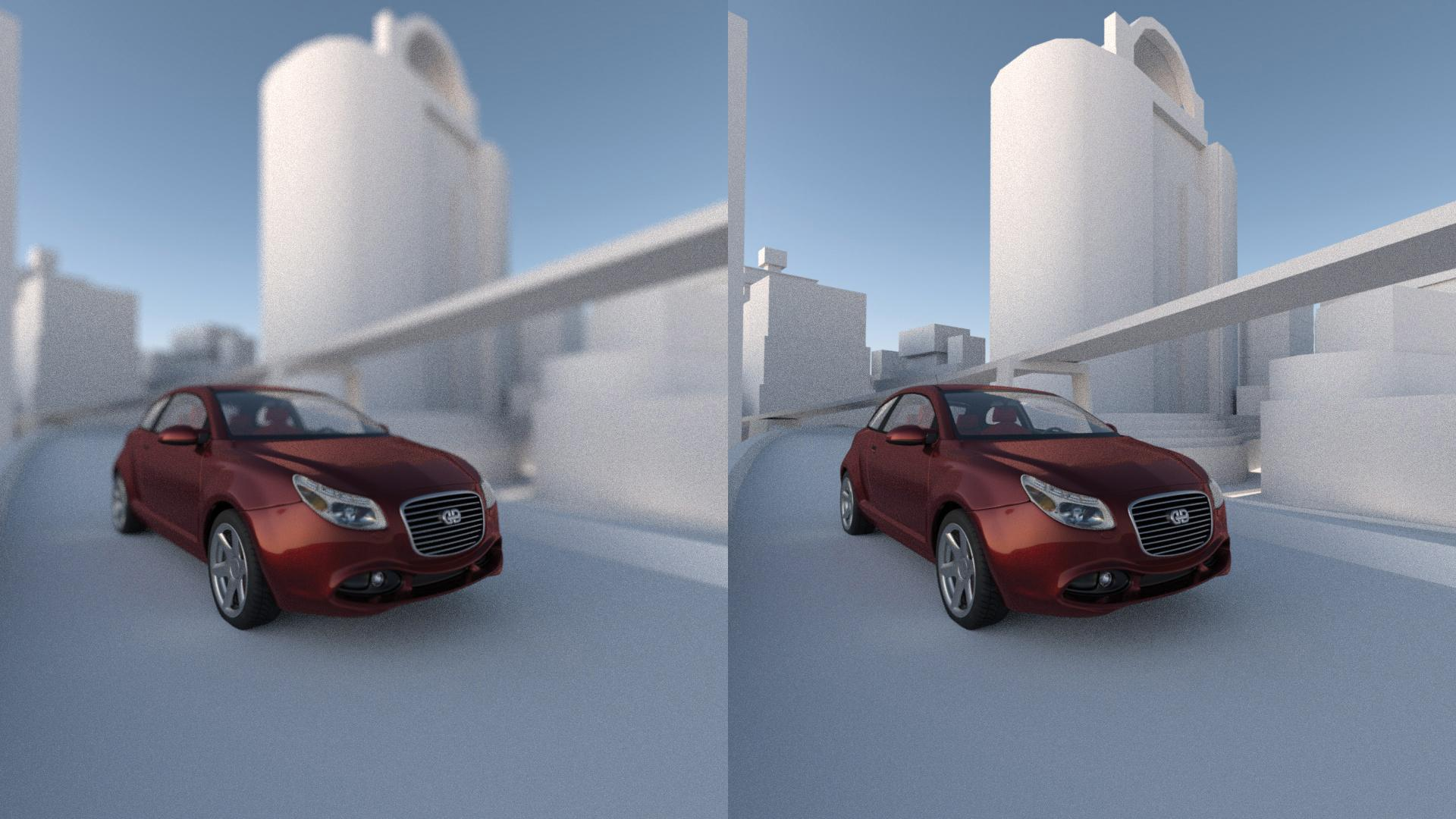 Pair of images of a car driving through a city scene